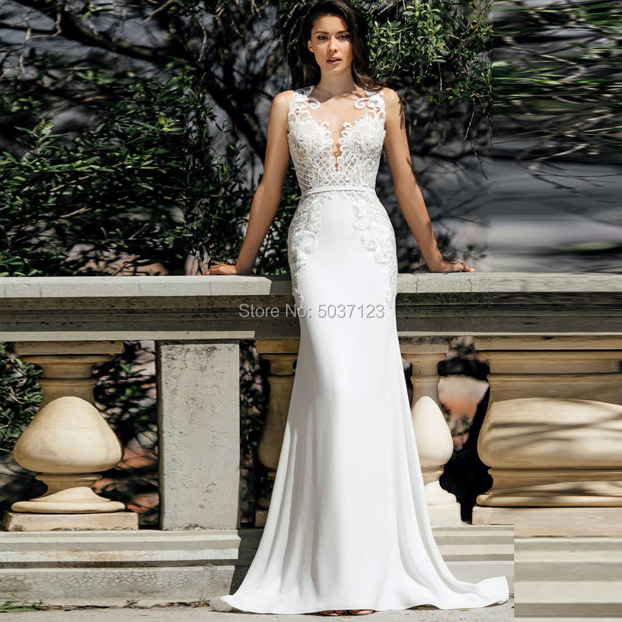 Mermaid Wedding Dresses Vestido De Noiva Satin Sleeveless Lace Appliques Button Illusion Bridal Wedding Gown Custom Made