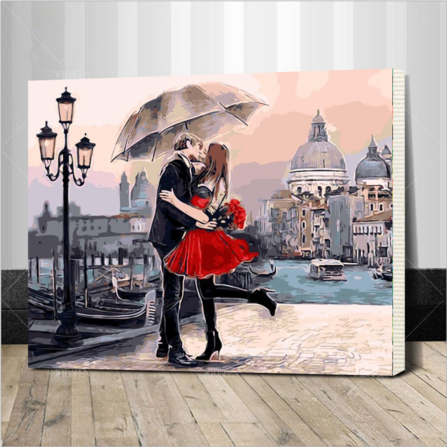 Romantic Kiss Lover DIY Painting By Numbers Landscape Acrylic Picture Wall Art Hand Painted Oil Painting