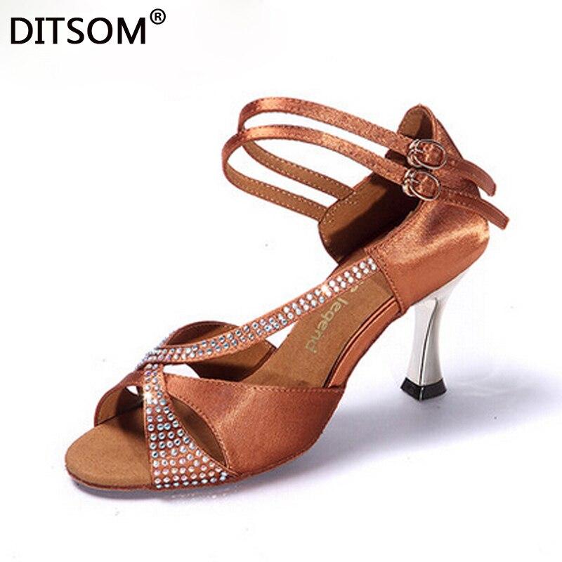 Chaussures de danse latine de haute qualité pour femmes strass Satin semelle supérieure en cuir de vache haut talon mince chaussures de danse latine de salle de bal