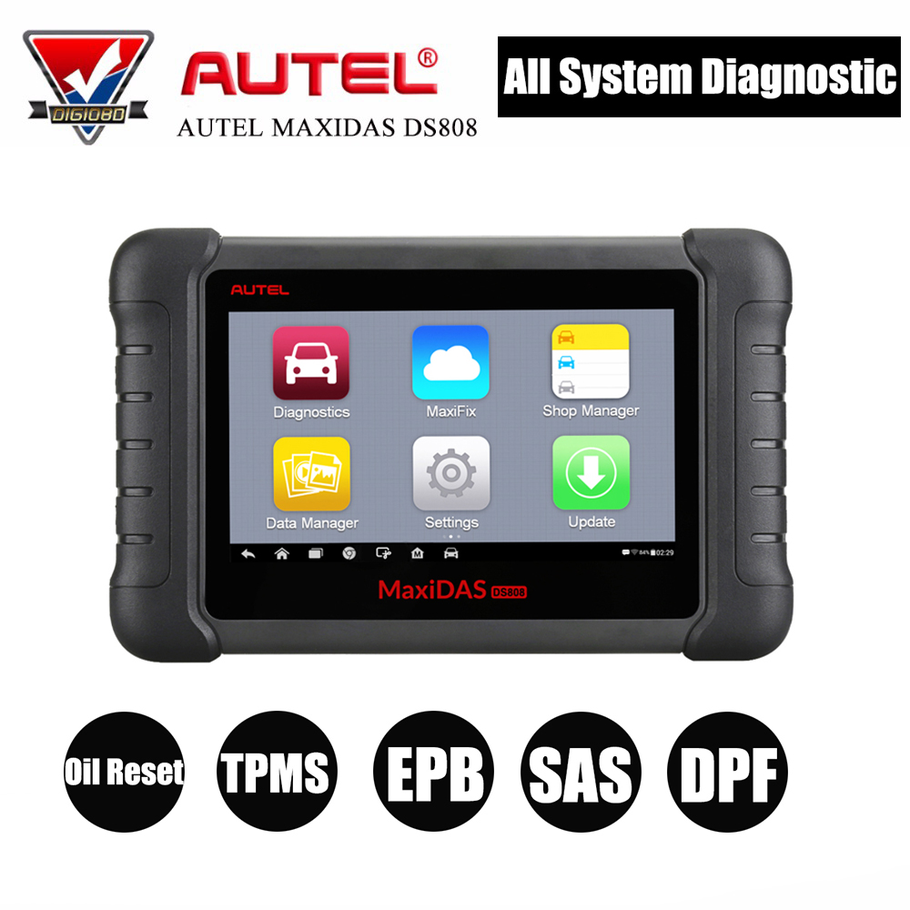 Autel MaxiDas DS808 автомобильный диагностический инструмент OBD2 читателя Кода с маслом сброс/TPMS/EPB/SAS/ DPF/ABS/SRS специальные Функция