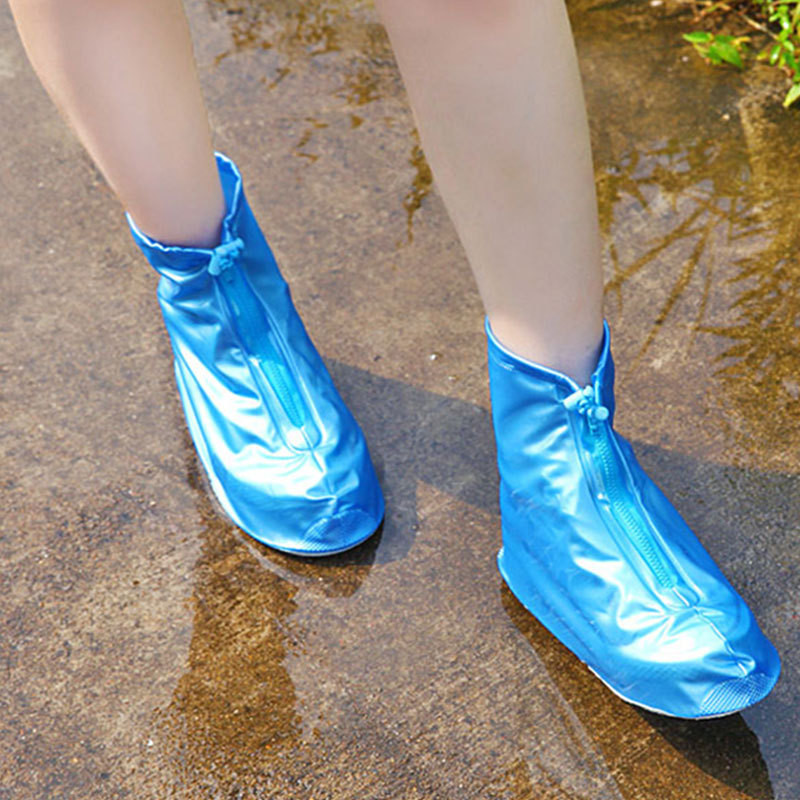 Waterproof Rain Reusable Shoes Covers, All Seasons Slip-resistant Zipper Rain Boot Overshoes, Men&Womens Shoes Accessories