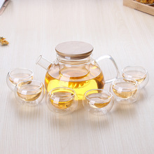 O.RoseLif 600ML New ECO-friendly Big Glass Teaset Kettle, Tea Set Including 6 Double-wall Cups + Heat-resistant Glass Pot