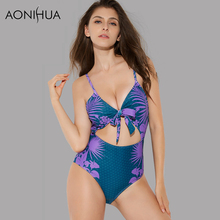 AONIHUA 2018 New Design Summer exposed belly Swimwear female One Piece Swimsuits Women Push up High waist Bathing Suit 2169