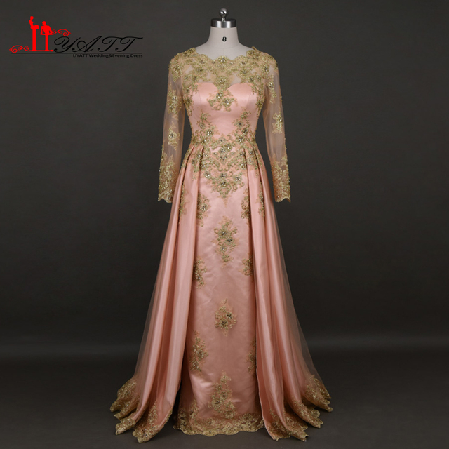 Beaded Gold Lace Appliques Saudi Arabia Muslim Evening Dress Long Floor  Length Formal Party Gowns Long Sleeves Pink Prom Dresses 22a1807c490b