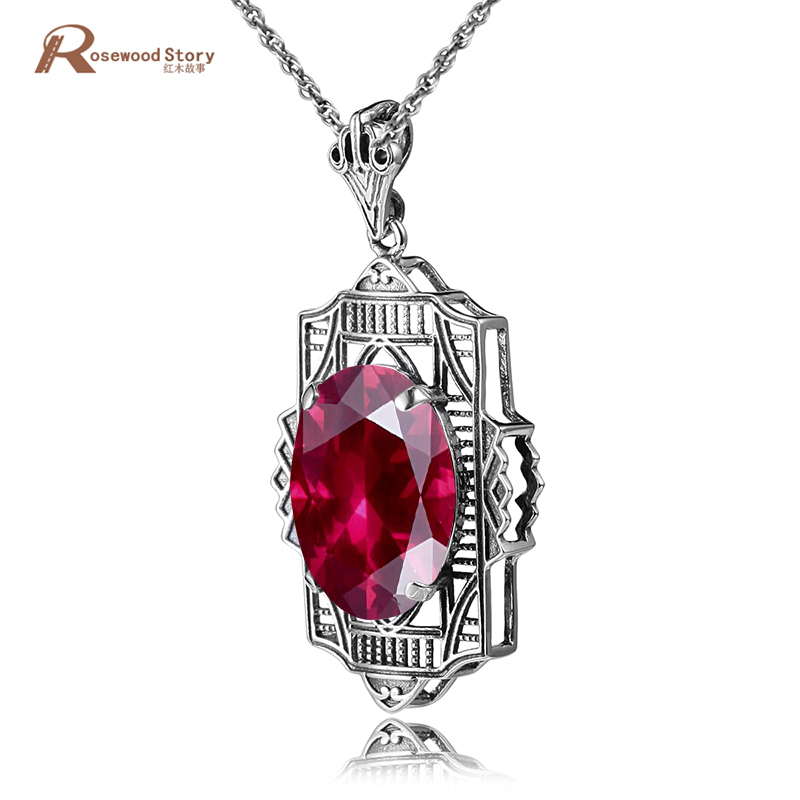 Ruby 925 Sterling Silver Pendant For Women Lab Ruby Silver Pendant Wedding Engagement Lovely Romantic Silver Jewelry No ChainRuby 925 Sterling Silver Pendant For Women Lab Ruby Silver Pendant Wedding Engagement Lovely Romantic Silver Jewelry No Chain