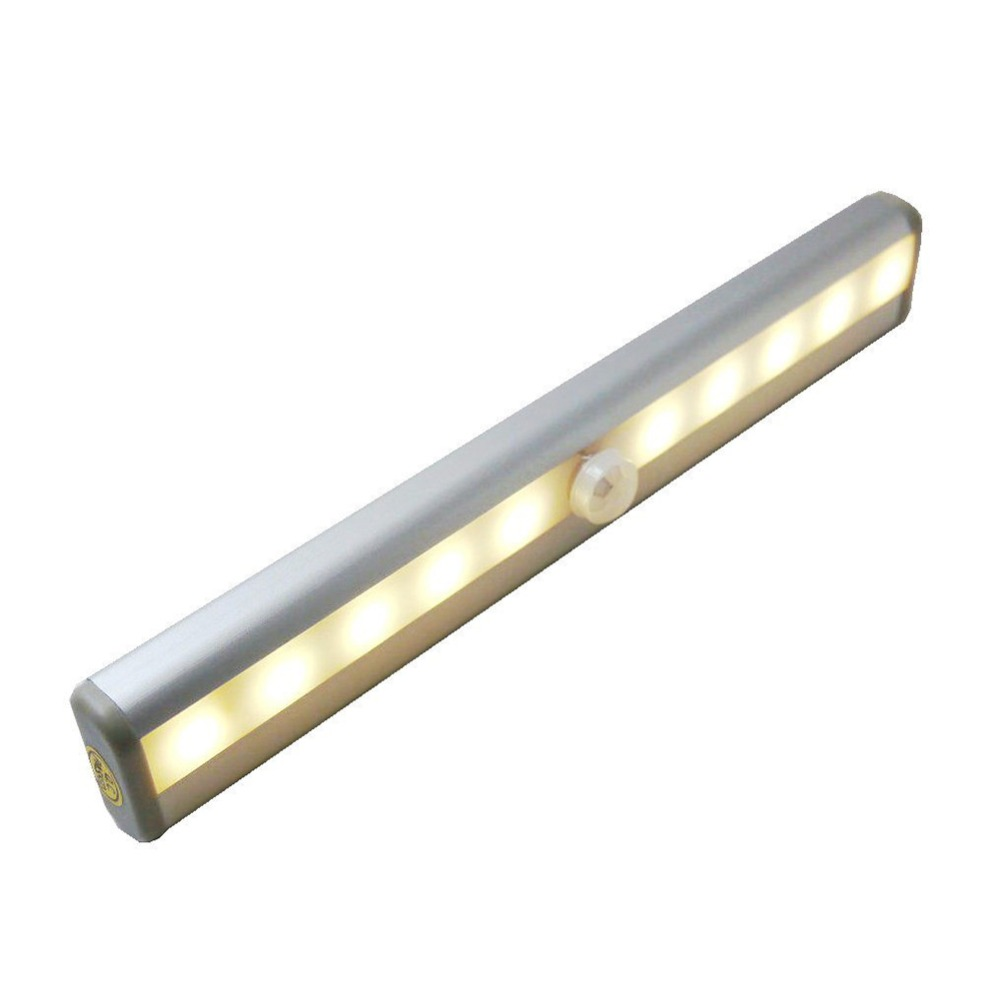 10-LED Wireless Motion Sensing Closet Cabinet LED Night Light Stairs Light Step Light Bar with Magnetic Strip (Battery Operated) рюкзак детский городской polar 17 л цвет серый п0088 06