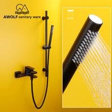 블랙 컬러 럭셔리 욕조 수도꼭지 슬라이딩 바 샤워 세트 벽 마운트 벽 믹서 탭 시스템 욕실 샤워 헤드 ah3011