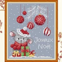Joy Sunday,Christmas mouse,cross stitch embroidery set,printing cloth kit,needlework,Christmas style cross
