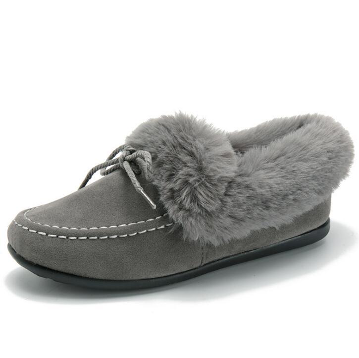 gris Coton 2018 Simples Des Hiver Xda De Noir Épais Chaudes marron Peluche Chaussures Mode rembourré En Glissement F408 Sur Femmes Neige Plates a6dd1q