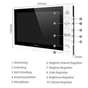 """Image 2 - HOMSECUR 9 """"Bedraad Kleuren Video Deurtelefoon Intercom met 700TVL IR Nachtzicht Outdoor Camera (TM901 + TC021 S)"""