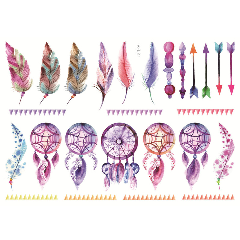 Uncut A5 Hand Painted Feather Decorative Stationery Stickers Scrapbooking DIY Diary Album Stick Lable TZ42