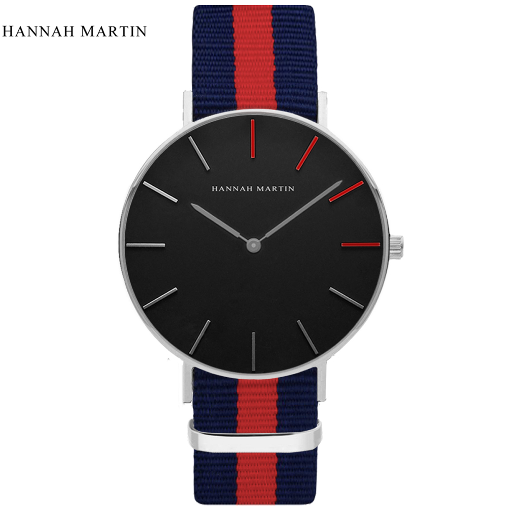Hannah Martin Brand Watches Men Women Casual Sport Clock Classical Nylon Male Quartz Wrist Watch Relogio Masculino Feminino  new top brand watches men women fashion casual sport clock classical nylon male quartz wrist watch relogio masculino feminino