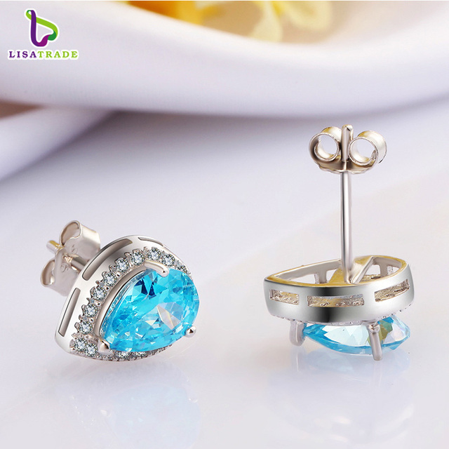 New Arrival 925 Sterling Silver Earrings with Beautiful Sea Blue Crystal Fine Jewelry Female Earrings Accessories C152