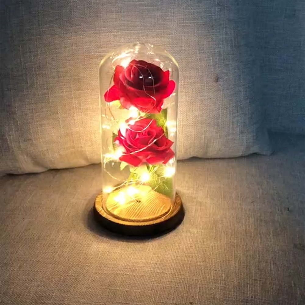 Festive & Party Supplies Smart Usb Silk Rose In A Glass Dome With Led Light String Gift Women Girls Birthday Valentines Day Mothers Day Christmas Holiday Artificial Decorations