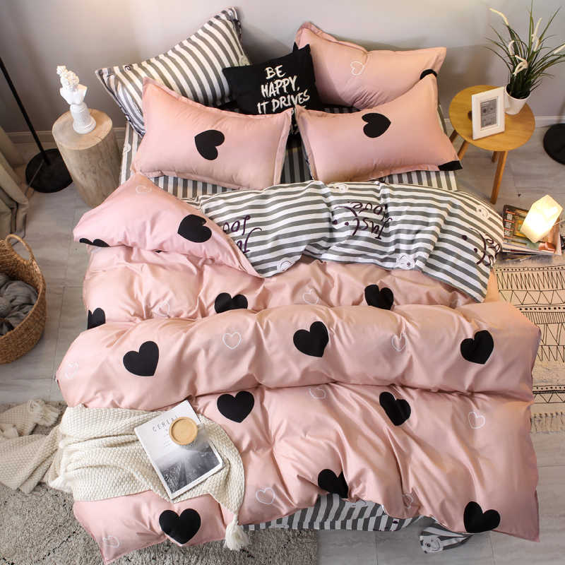 3/4pcs pink heart bedding set Super king size bed linens reactive printing duvet cover set brief style home bed set flat sheet