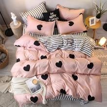 3/4 adet pembe kalp nevresim takımı süper king size yatak çarşafları reaktif baskı yorgan yatak örtüsü seti kısa tarzı ev yatak takımı düz levha