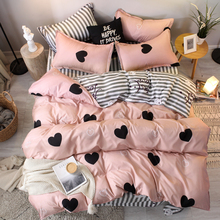 3/4pcs หัวใจสีชมพูชุดเครื่องนอน Super King ขนาดผ้าปูที่นอน reactive duvet ปกชุดบ้านชุดแผ่น