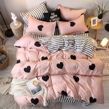 3/4pcs pink heart bedding set Super king size bed linens reactive printing duvet cover set brief style home bed set flat sheet(China)