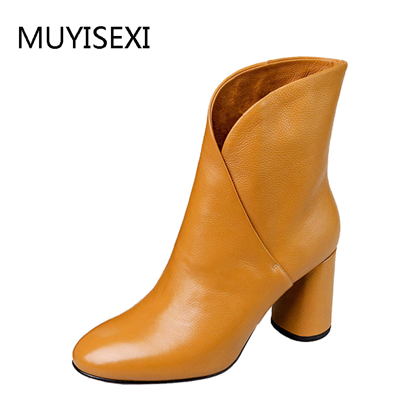 Ankle Women Boots Full Genuine Leather 8 cm Thick Heel Round Toe Slip On High Quality