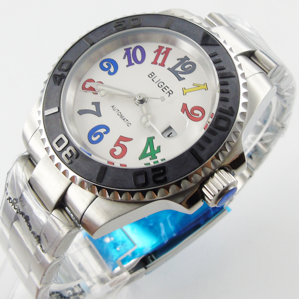 Bliger 40mm white dial date Ceramics Bezel colorful marks saphire glass Automatic movement Men's watch bliger 40mm gray dial date blue ceramics bezel stainless steel case saphire glass automatic movement men s watch