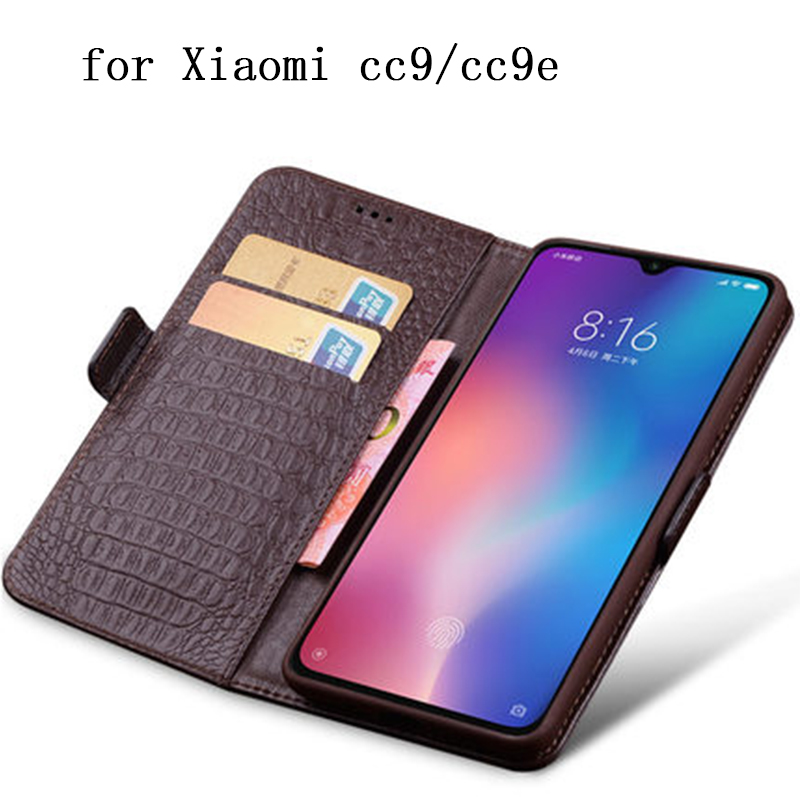CC9 Case Wallet Case for Xiaomi CC9e Luxury Genuine Leather Shield Shell for Xiaomi cc 9 with Card Slots Flip Stand Funda coque