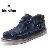 Blaibilton Autumn Winter Genuine Leather Casual Snow Boots Men Shoes Warm Velvet Vintage Classic Male Ankle