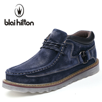 Blaibilton Autumn Winter Genuine Leather Casual Snow Boots Men Shoes Warm Velvet Vintage Classic Male Ankle
