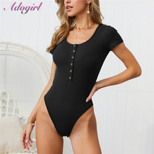 Adogirl Short Sleeve Deep V Neck Bodysuit Woman Summer Cotton Knitte Button Bodycon jumpsuit Casual overalls Body Top Clothes