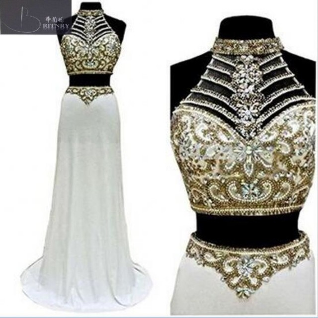 Sexy Two Piece Wedding Dress Halter Neck Gold Beading Crop Top White ...
