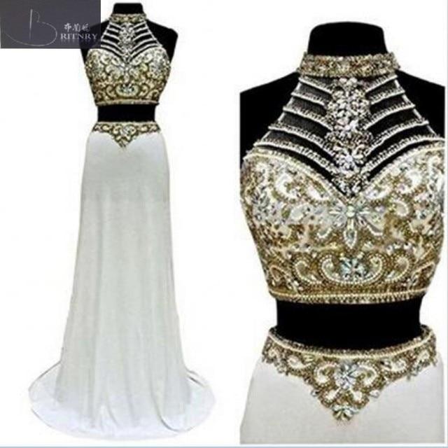 Sexy Zweiteiler Hochzeit Kleid Neckholder Gold Perlen Bauchfreies