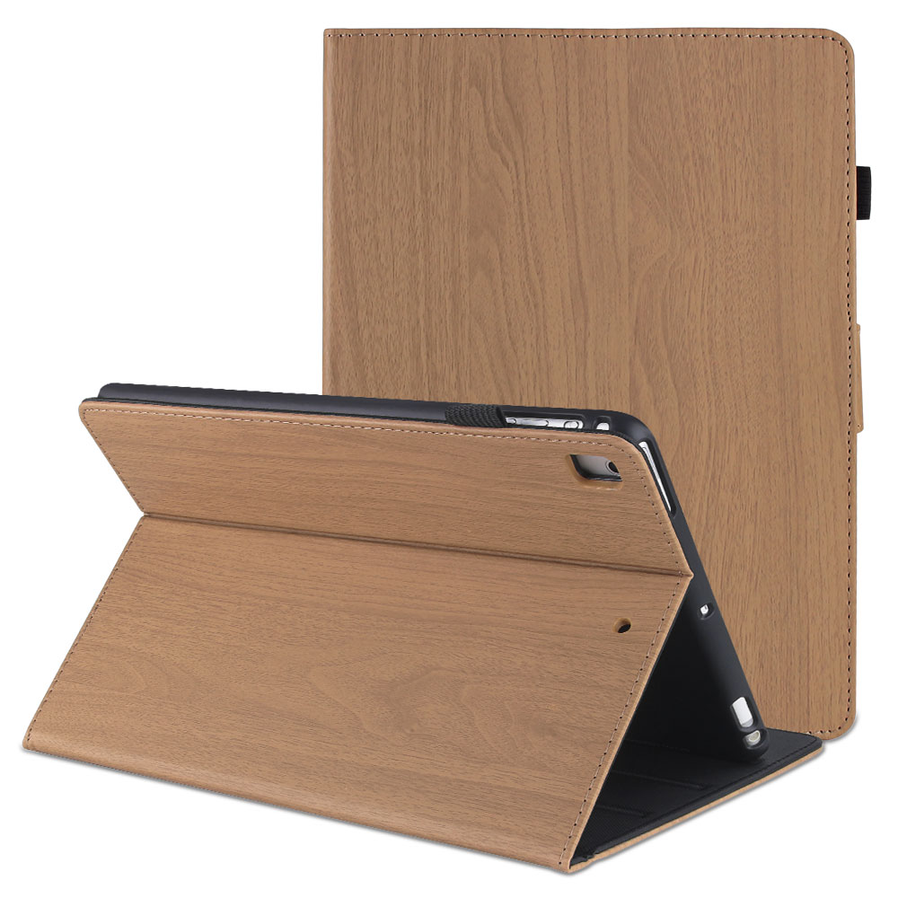 Brown Red For iPad 10 2 2019 Smart Cover Wood Pattern PC Flip Case for iPad 7th Generation