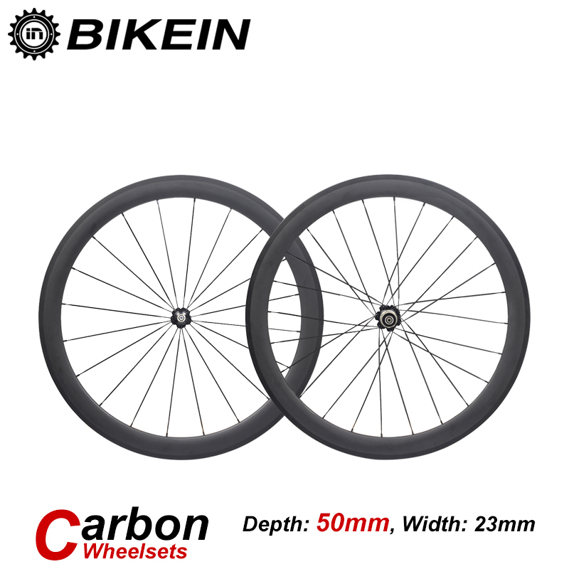 все цены на BIKEIN Full Carbon wheel 38mm 50mm 60mm 88mm Carbon Bicycle Wheels Wide 23mm 700C Road Bike Carbon Wheelset tube tire open tire онлайн