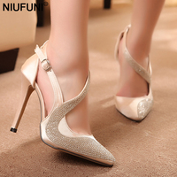 NIUFUNI 2018 new fashion crystal pumps elegant Women shoes Silver Rhinestone Silver Glitter High Heels Woman Party Shoes 318 18