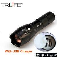 USB E17 6000 Lumens 3 Mode CREE XM L T6 LED Flashlight Lighting Zoomable Focus Torch