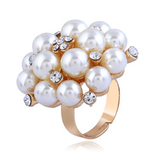 Open Pearl Rings Gold Color Cubic Zircon Leaf Adjustable Big For Women Wedding Fashion Jewelry