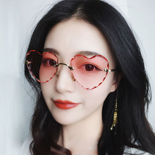 SO&EI Candy Color Love Sunglasses Women Gradient Peach Ocean Sheet Thick Side Rimless Men Sun Glasses UV400 Gafas De Sol