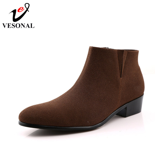 VESONAL Brand Cow Suede Chelsea Boots Male For Men Shoes Adult 2018 New Autumn Fashion Business Ankle Footwear Walking Designer