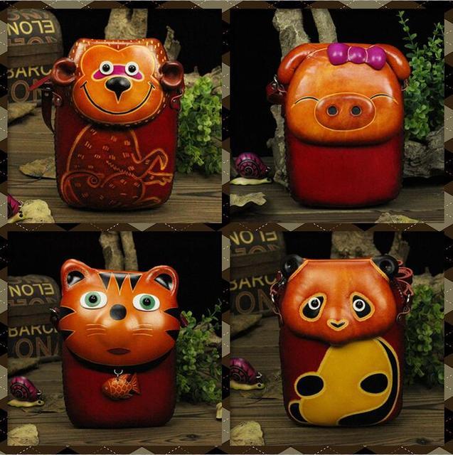 Hecho a mano bolsas de mensajero de cuero lindo colorido cat cartoon carpeta cero bolso de la forma del cerdo panda koala animal crossing artesanías