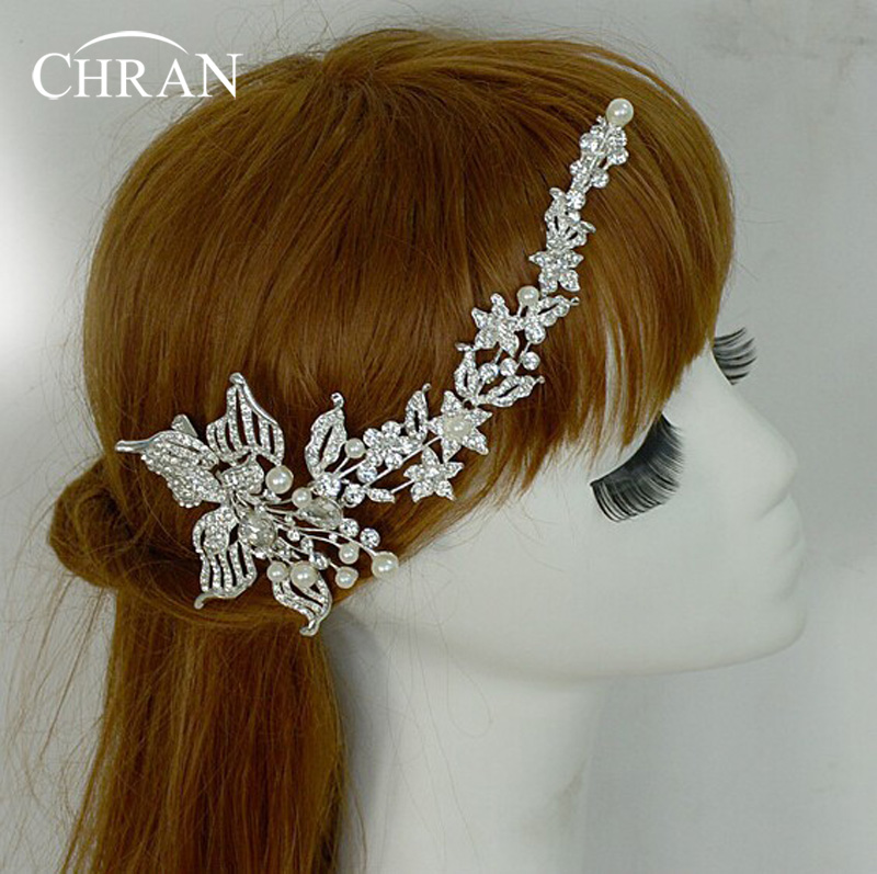 Chran Tiara Flower Imitation Pearl Decoration For Hair Rhinestone Bridal Wedding Hair Barrette Accessories Head Chain