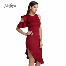 womens sexy one-shoulder knee-dress one-piece summer ladies plain party dress fascinating ruffles suit-dress