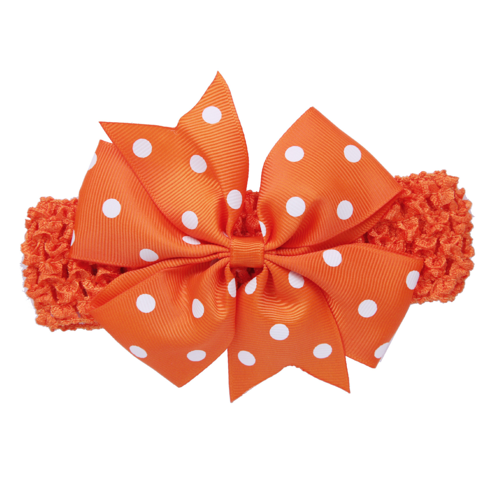 Baby Girl Rib Dovetail satin ribbon Polka Dot Bow Elastic hair band(Orange)-in  Hair Accessories from Mother   Kids on Aliexpress.com  31eabb2b24b