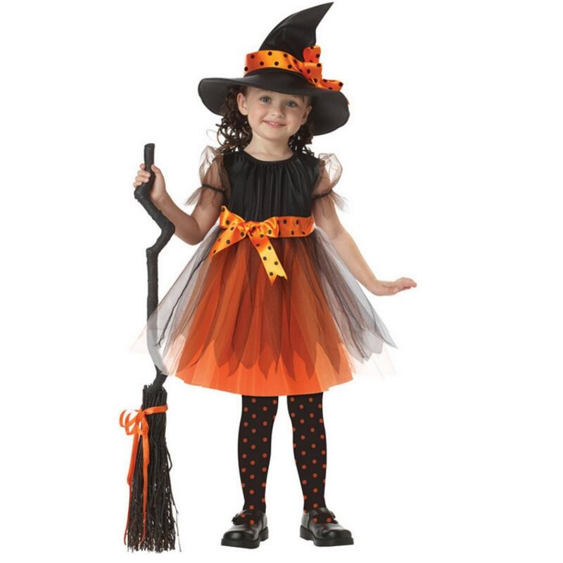 Newest Style Costume Cosplay For Girl Kid's Party Black Witch Clothing for Role Playing Performance Halloween Carnival Party