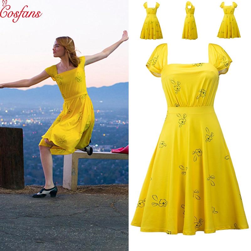 2019 La La Land Emma Stone Mia Cosplay Yellow Elegant Ladies Beauty Women Long Party Dresses Summer Style Women Dresses Costumes Movie Tv Costumes Aliexpress