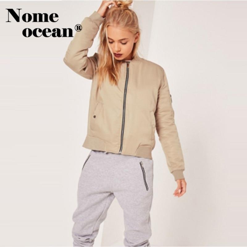 Soft Touch Bomber Jacket 2018 Spring Women Jackets Zipper Pocket Outwear Coats for Women Nude Fashion Jacket Coat M16103004