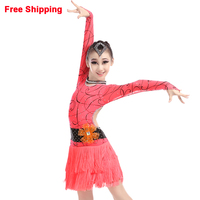 New Sexy Open Back Latin Dance Costume Girls Kids Latin Fringe Dress Stage Performance Dance Competition