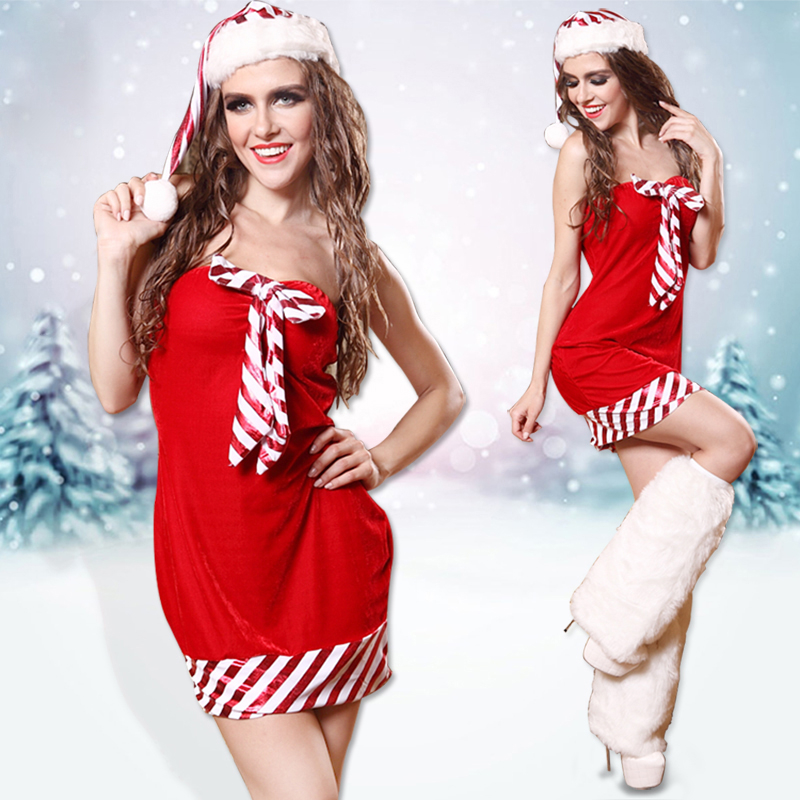 Red Strapless Dress Women Christmas Santa Claus Costume Sexy Fitted Ladies XMAS Cosplay Party Clubwear Outfit Fancy Dress