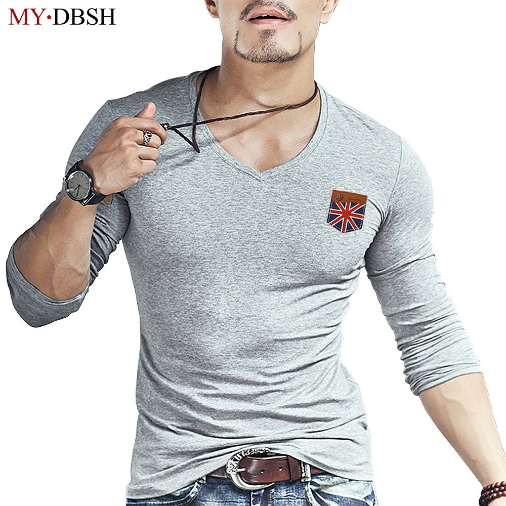 2018 Fashion Men's British Flag Hand-stitched Design Hipster Casual Tops elastic cotton Long Sleeve Fake Leather Pocket tshirts