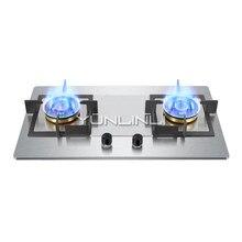Fogão a gás para uso doméstico placa de fogão a gás embutido dupla utilização fogão de aço inoxidável duplo queimador forno a gás