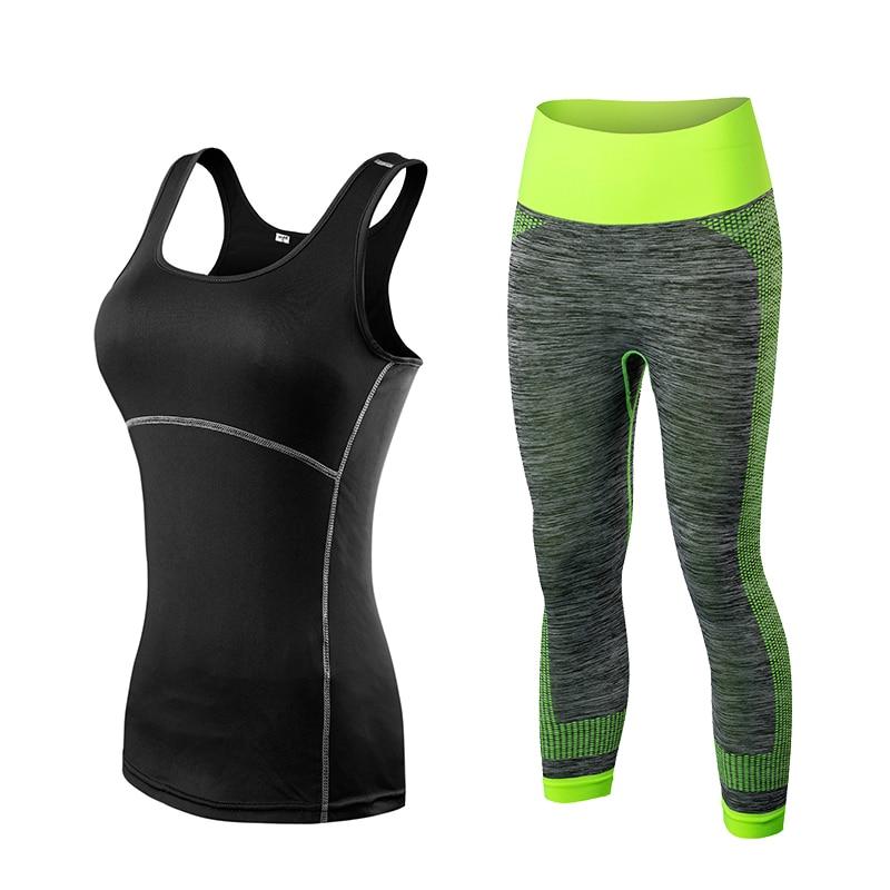 Fitness Geyim Zolaqlı Qolsuz Tennis Yoqa Vest + Şalvar. Qatı - İdman geyimləri və aksesuarları - Fotoqrafiya 4