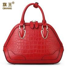 famous brands QIWANG Genuine leather bag top quality women bags fashion handbags shoulder messgnger Red dark green shell bag